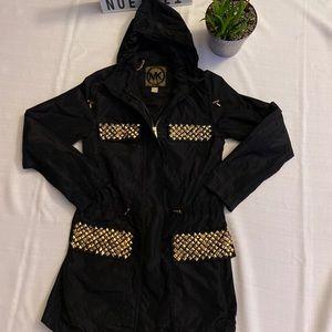 Michael Kors black gold studded raincoat